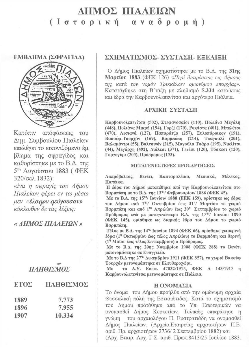 Δήμος Πιαλείων (Ιστορική Αναδρομή)